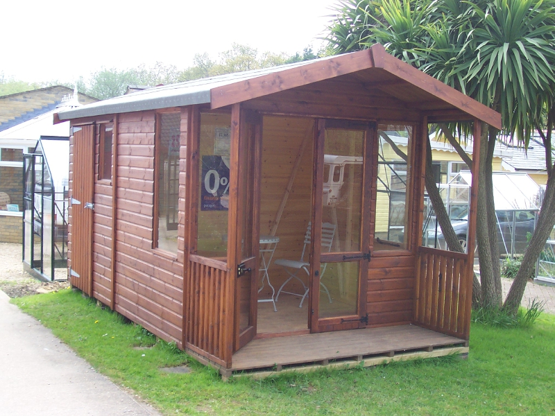 Iow garden summerhouses centre combined summerhouse shed for Garden shed regulations