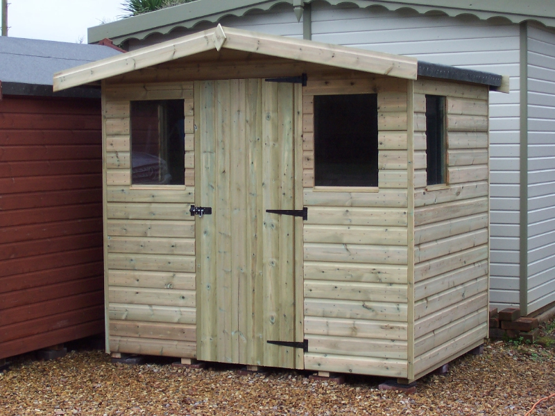 IOW Garden Shed Centre - economy reverse apex shed low pitched roof